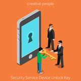 Security Service Device Unlock Key. Special agents Royalty Free Stock Photography