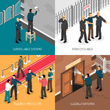 Security Service 4 Isometric Icons Square. Celebrities bodyguards professional protective security service daily activities concept 4 isometric icons square Stock Photo
