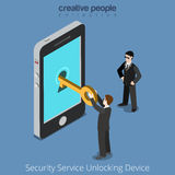 Security Service Unlocking Device. Special agents Royalty Free Stock Photography