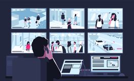 Security service worker sitting in dark control room in front of monitors displaying video from surveillance cameras. Watching and talking on phone. Back view vector illustration