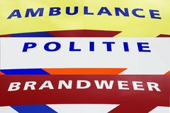 Ambulance Fire and Police department Ambulance, brandweer en politie royalty free stock image