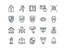 Security. Set of outline vector icons. Includes such as FingerPrint, Electronic key, Spy, Password, Alarm and more. Royalty Free Stock Images