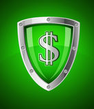 Security shield as symbol of financial safety. Financial security shield as symbol safety with sign dollar currency  illustration Stock Photography