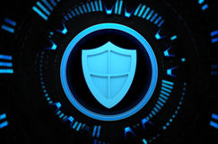 Security shield blue icon in the technology space. 3D background illustration with icon in the middle Royalty Free Stock Photography