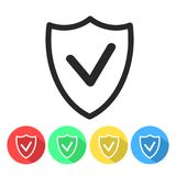 Security shield confirmation check line icon for apps and websit royalty free illustration