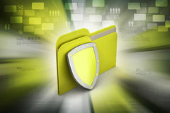 Security shield with file folder Royalty Free Stock Photography