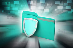 Security shield with file folder Royalty Free Stock Images