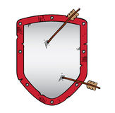 Security shield icon with arrows Royalty Free Stock Photo