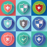 Security shield icon set - protection symbols. Flat design style. Royalty Free Stock Images