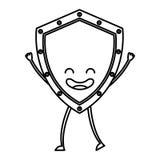 Security shield kawaii character Stock Photo