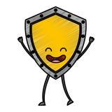 Security shield kawaii character Royalty Free Stock Photo