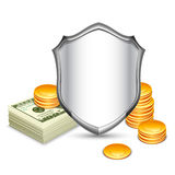 Security Shield Protecting Money Royalty Free Stock Photo