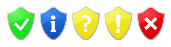 Security shield sign. Five security shield internet icons. Vector available Royalty Free Stock Image