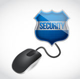 Security shield sign connected to mouse Stock Photos