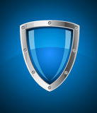 Security shield symbol icon. Illustration on blue background Stock Photography