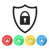Security shield or virus shield lock line art icon for apps and vector illustration