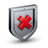 Security shield with warning x symbol. Stock Photo