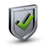 Security shield with yes tick symbol. Stock Image