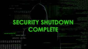 Security shutdown complete, cyberattack on national defense system, terrorism. Stock footage stock footage