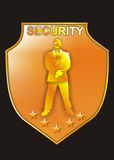 Security Sign. Vector illustrations of a bodyguard on a badge Stock Photography