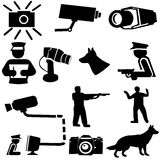 Security silhouettes. Guard dogs, cctv camera, and armed guard illustration Stock Photo