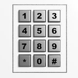 Security silver numeric pad Stock Images
