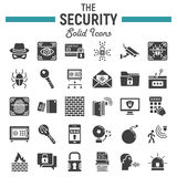 Security solid icon set, cyber protection signs Stock Images