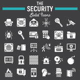 Security solid icon set, cyber protection signs Royalty Free Stock Photography