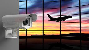Security surveillance camera with airport Stock Photos