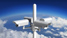 Security surveillance camera with blue sky Stock Images