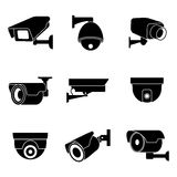 Security surveillance camera, CCTV vector icons Stock Images