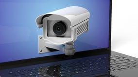 Security surveillance camera on laptop Stock Photos