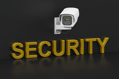 Security surveillance camera, security concept. 3D rendering. On black background Royalty Free Stock Image