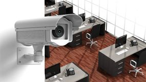 Security surveillance camera on wall Stock Images