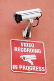 Security / surveillance camera with warning Royalty Free Stock Image