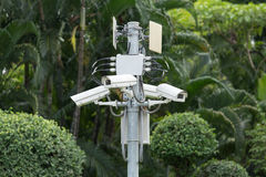 Security surveillance  cameras in the garden. Security surveillance cameras in the garden Royalty Free Stock Image