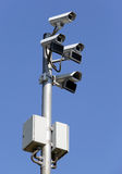 Security surveillance cameras. Of the streets Royalty Free Stock Image