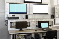 Security surveillance desk Stock Photo