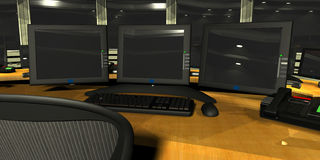 Security Surveillance room. 3D render of Security Surveillance Room Stock Photo