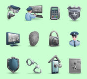 Security Symbols Icons Set. Decorative security icons set with  policeman badge handcuffs and symbols of protection  and guard isolated vector illustration Royalty Free Stock Images