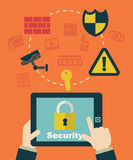 Security system. Businessman clicking on tablet Stock Image