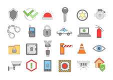 Security system colorful icons set. Set of 24 Security system colorful icons Stock Photos