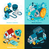 Security System Concept Icons Set. With home security symbols isometric isolated vector illustration Stock Photo