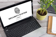 Security system concept on a laptop. Laptop screen with security system concept Royalty Free Stock Photos