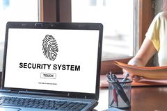 Security system concept on a laptop screen. Laptop screen displaying a security system concept Stock Images