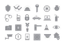 Security system gray  icons set. Set of 24 Security system gray  icons Royalty Free Stock Images