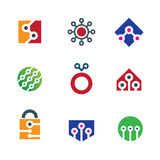 Security system home and internet virtual hack shield logo icon Royalty Free Stock Photos