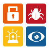 Security system set icons Stock Photo