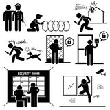 Security System Stick Figure Pictogram Icon. A set of pictograms representing the different methods of security system Stock Image