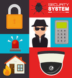 Security system and surveillance vector illustration